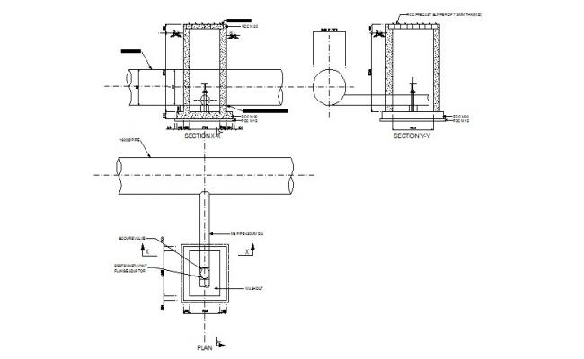 Scour valve section and plan cad drawing details dwg file