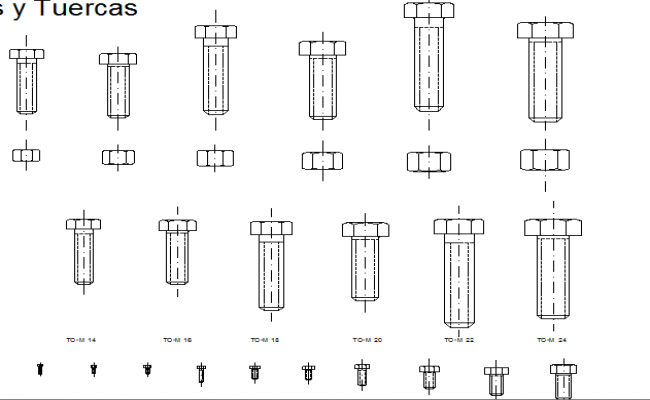 Screw and bolts blocks design dwg file