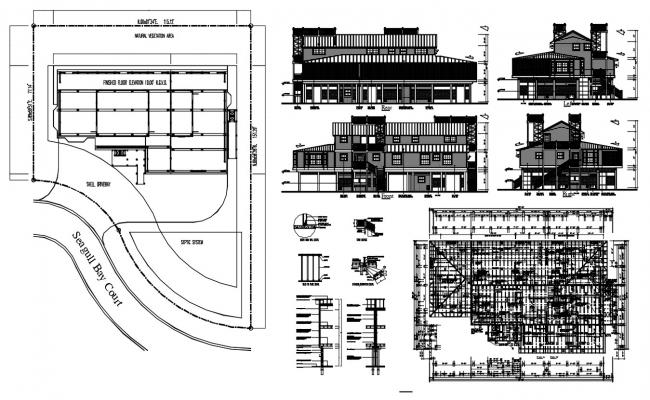 Seagull Bay Court Plan With Elevation DWG File