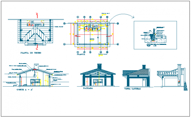 Seating arrangement bench and roof structure plan view detail dwg file