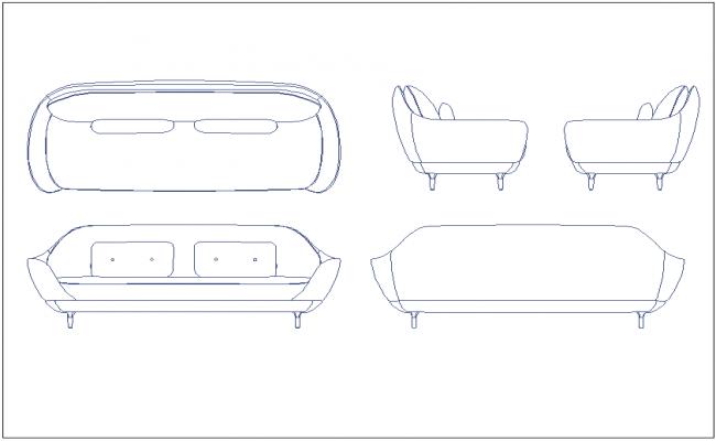 Seating bench, sofa furniture block dwg file