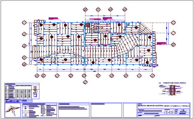 Second  floor structure plan with sectional detail view for shopping center and office dwg file