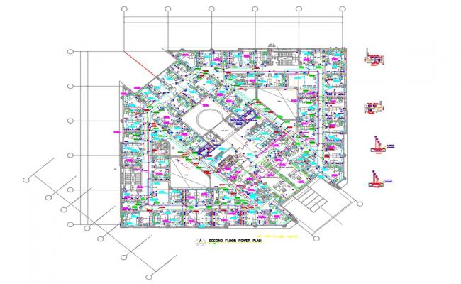 Second Floor Electrical Power Plan Of Commercial Building AutoCAD File