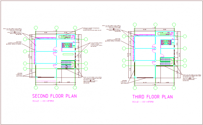 Second and third floor plan of office building dwg file