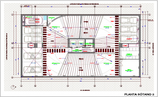 Second basement floor plan of office dwg file