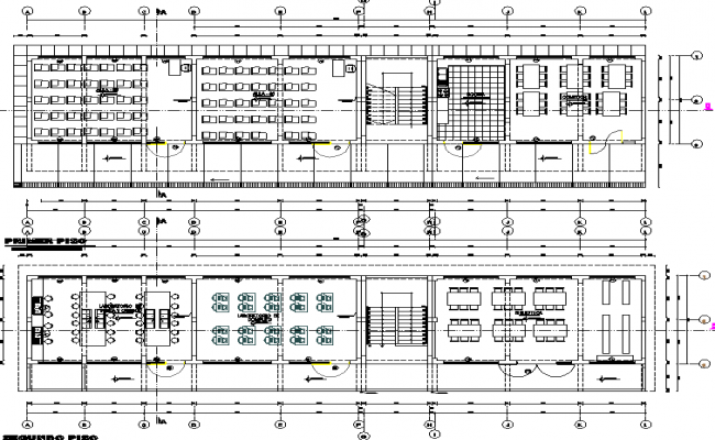 Second floor and roof floor plan detail dwg file