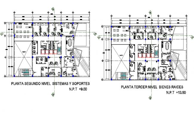 Second floor and terrace floor plan detail dwg file