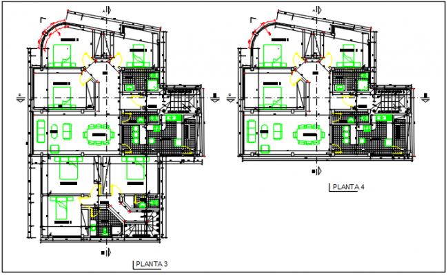 Second floor and third floor plan detail dwg file
