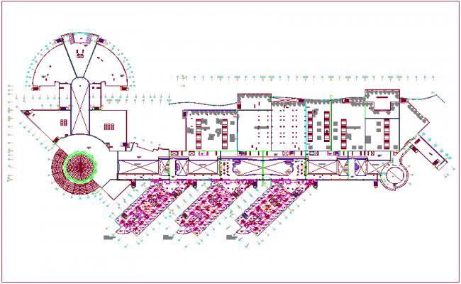 Second floor design view for hospital dwg file