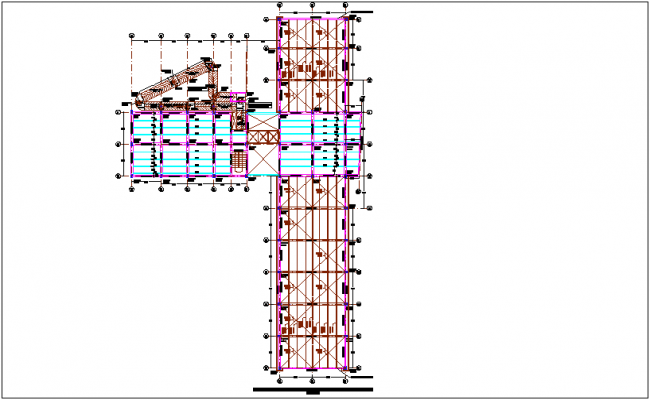 Second floor entry structural plan of office area for integral center dwg file