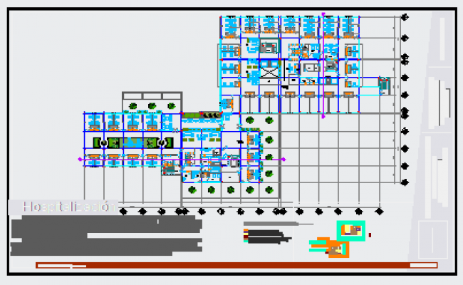 Second floor layout design drawing in Hospital building design drawing
