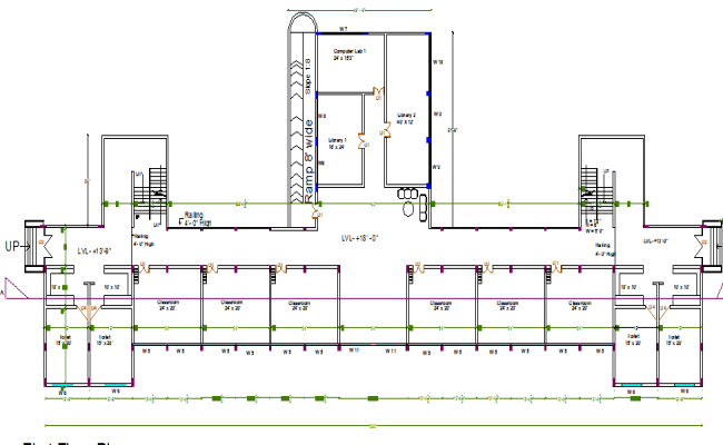 Primary School Plan Elevation : Second floor layout plan details of primary school