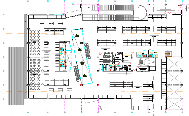 Second floor layout plan details of super market dwg file