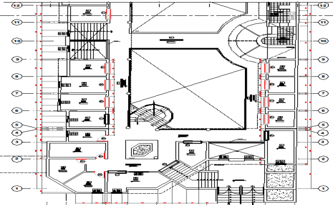 Second floor layout plan details of urban area industrial plant dwg file