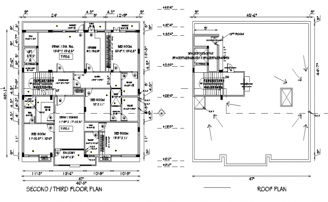 Second floor plan and roof plan detail dwg file