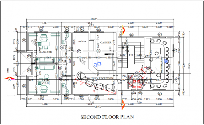 Second floor plan for computer business center dwg file