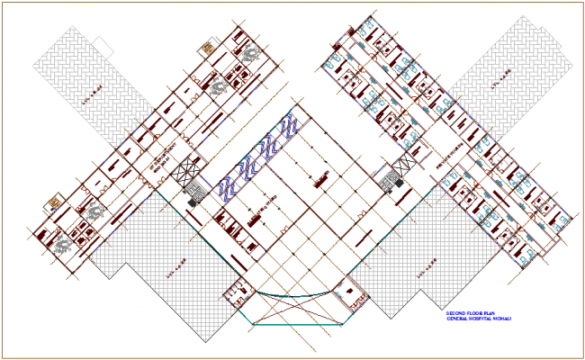 Second floor plan for general hospital of Mollie dwg file