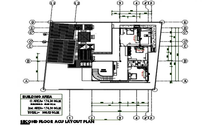 Second floor plan in A.C. detail dwg detail Second floor plan in A.C. with dimension detail file