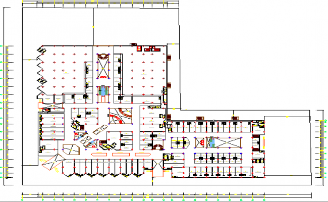 Second floor plan layout details of shopping mall dwg file
