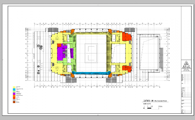 Second floor plan of an industrial building 2d view layout plan,