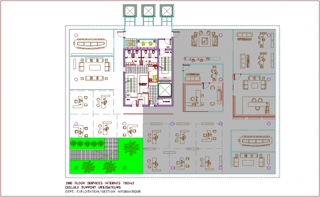 Second floor plan of bank head quarter dwg file