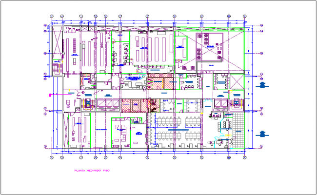 Second floor plan of office of Washington dwg file