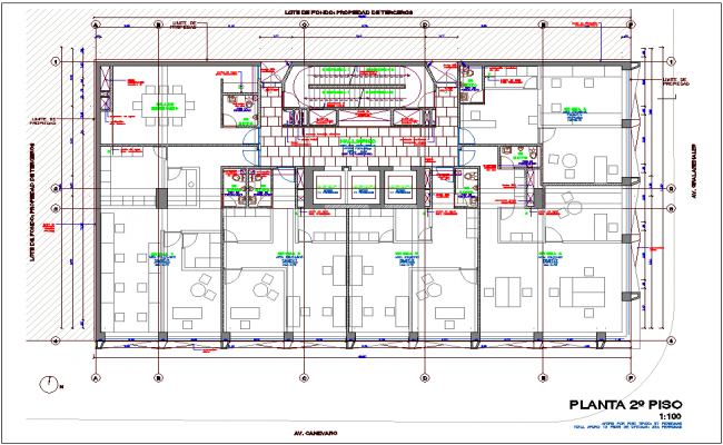 Second floor plan of office with architectural view dwg file