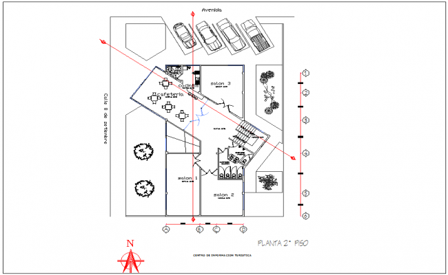 Second floor plan with cultural area dwg file