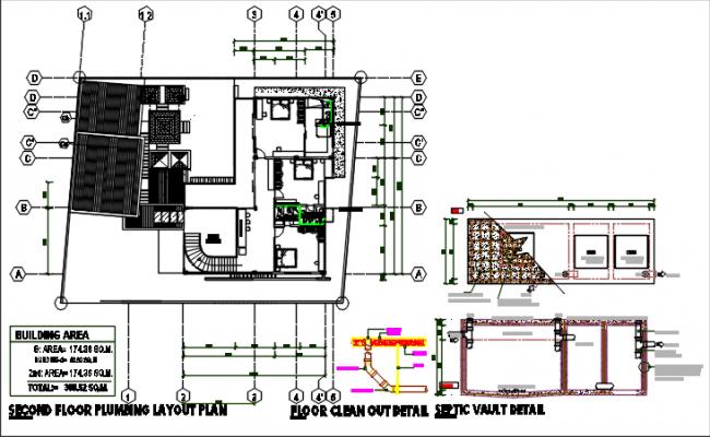 Second floor plumbing plan detail dwg file