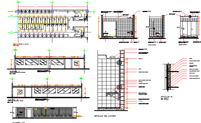 Second floor sanitary installation details of shopping center dwg file