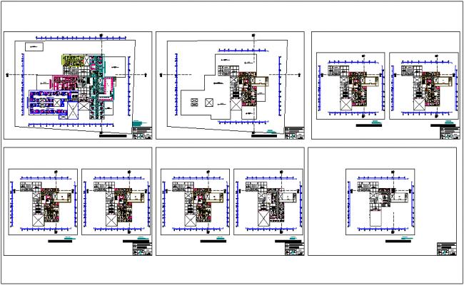 Second floor to ninth floor plan of hospital dwg file