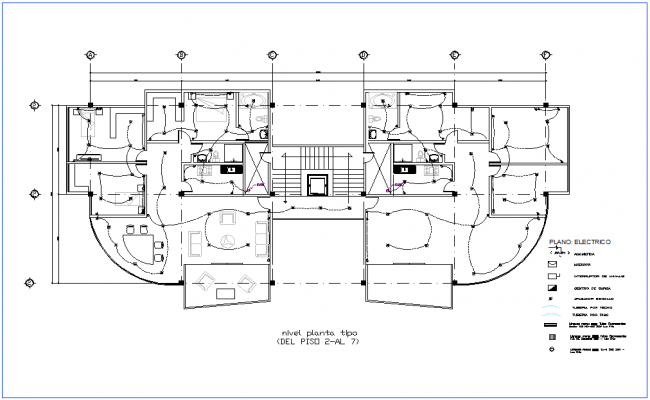Second to seventh floor plan of office premises for electrical view dwg file