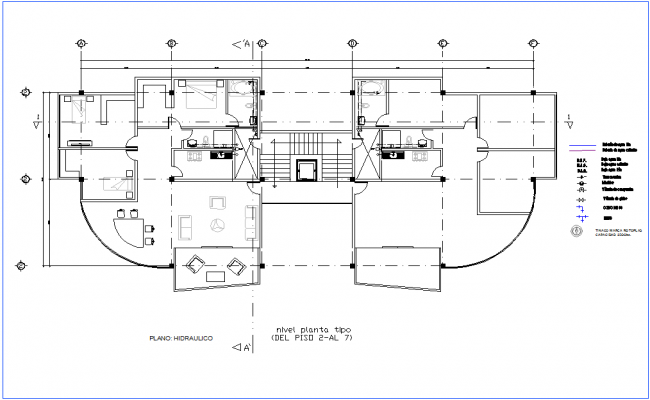 Second to seventh floor plan of office premises for hydraulic view dwg file