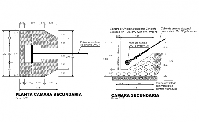 Secondary camera plant plan and section autocad file