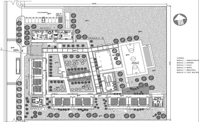 Secondary school landscaping details with structural layout details dwg file