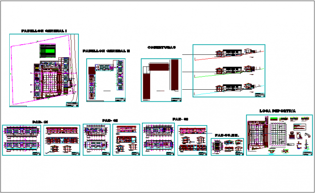 Secondary school plan view with elevation dwg file