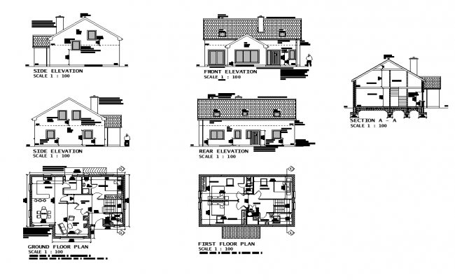 Section, plan and elevation of housing building structure 2d view file in autocad format