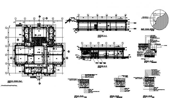 Section, ground floor and construction details of office building dwg file