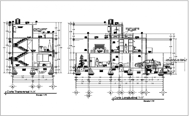 Section  with different axis  view for residence building dwg file