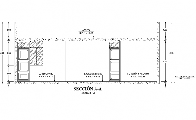 Section A-A' medical plan detail dwg file