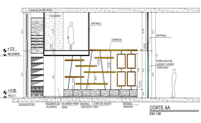 Section A-A' plan detail dwg file