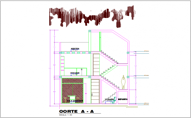 Section A-A of bungalows area with architecture view dwg file