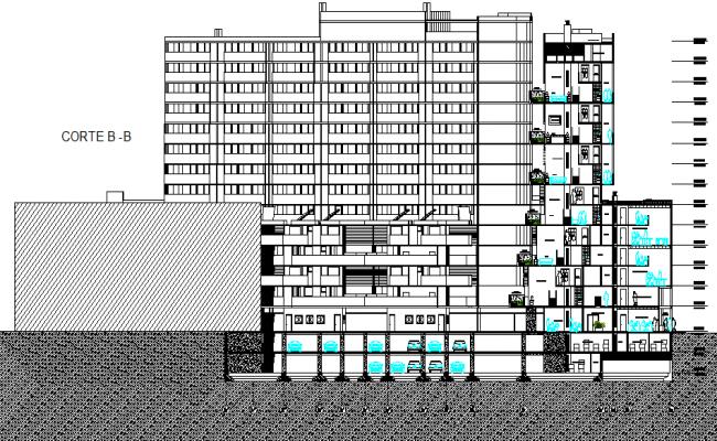 Section B-B' detail dwg file