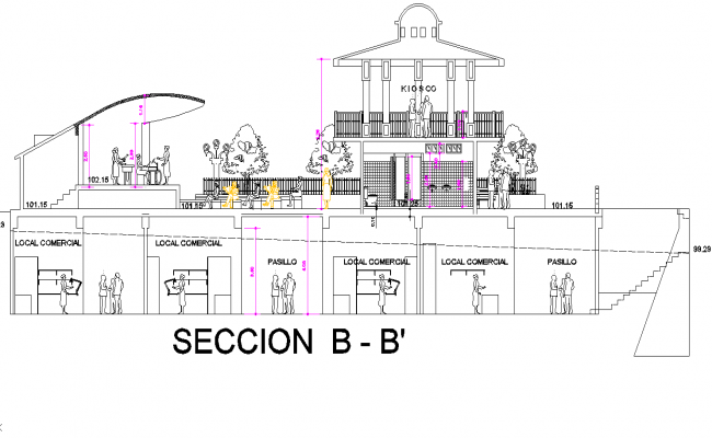 Section B-B' detail dwg file