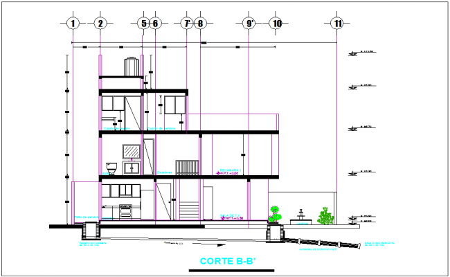 Section B-B' view for residence with sanitary view dwg file