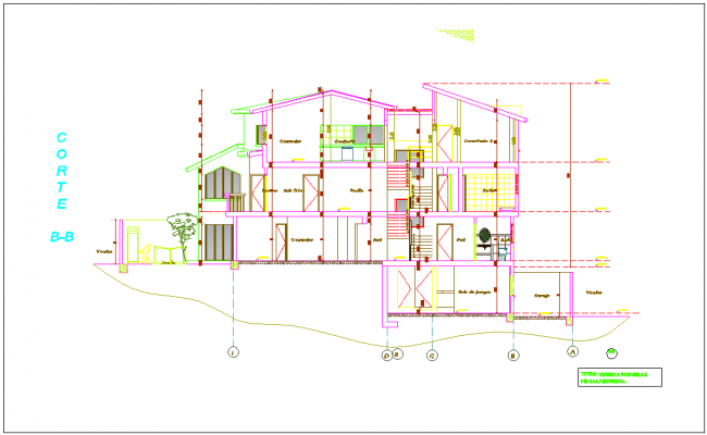 Section B-B view for house building dwg file