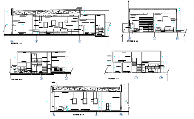 Section Bank agency office plan detail dwg file