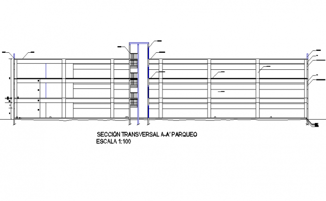 Section Building with park 4 levels plan detail dwg file