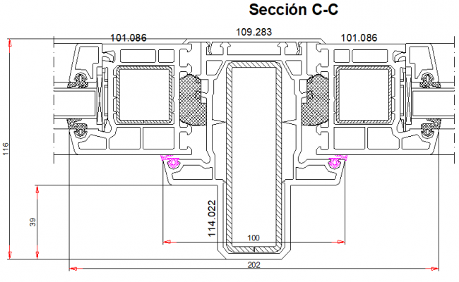 Section C-C' detail veka system detail dwg file