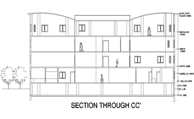 Section C-C' education center plan detail dwg file